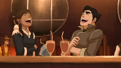 Bolin and Korra laugh