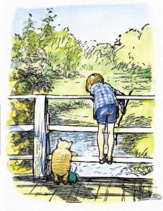 Motisfont Christopher Robin and Pooh playing poohsticks creditThe E.H. Shepard Trust reproduced by permission of Curtis Brown Group Ltd